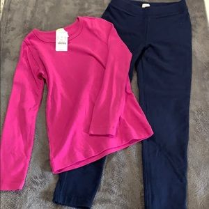 Jcrew crewcuts girls leggings & shirt set size8